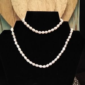 Cultured Baroque Pearl Necklace & Earrings